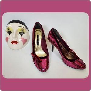 Plum sequin heels